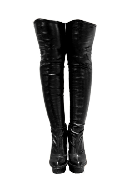 front view of Luxury STELLA MCCARTNEY Faux leather overknee boots
