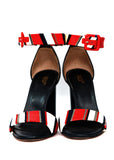 Pre owned RED VALENTINO Blue Red Stripped Sandals