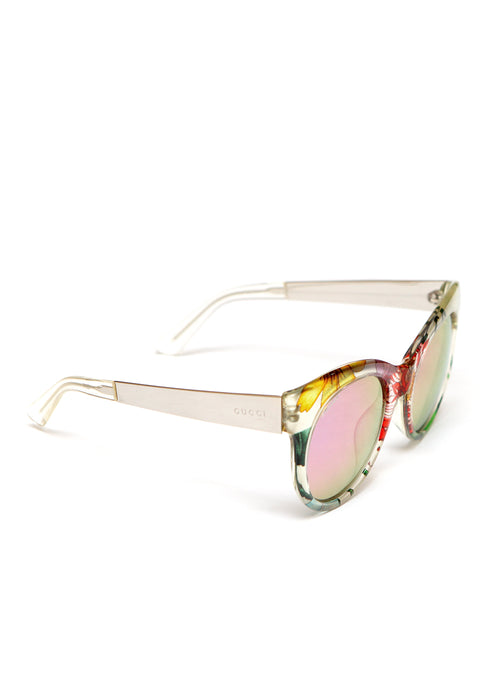 right view of pre owned GUCCI Flower print Sunglasses