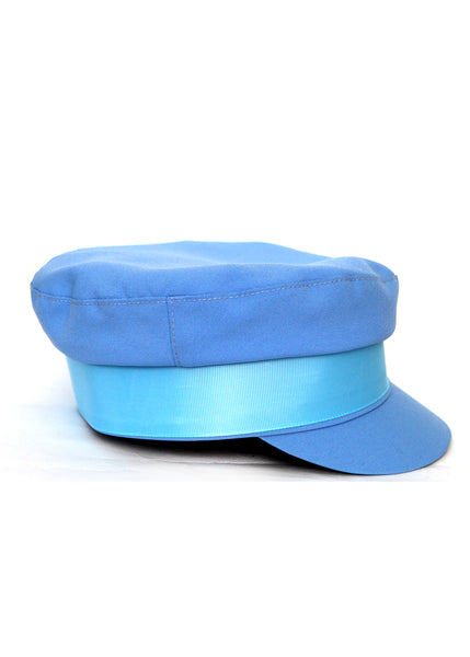 right view of Blue Cotton cap which was created by Azerbaijan fashion designer