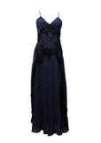 Luxury SELF-PORTRAIT Dark Blue Maxi Dress