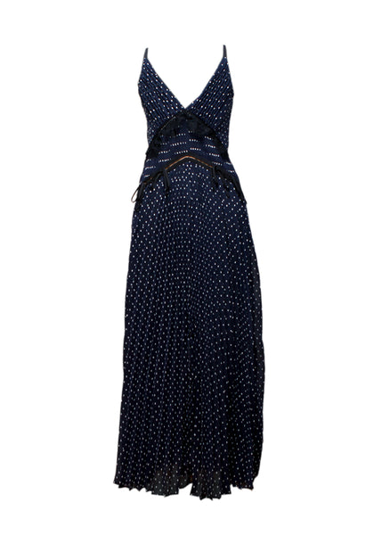 Fullview of Luxury SELF-PORTRAIT Dark Blue Maxi Dress