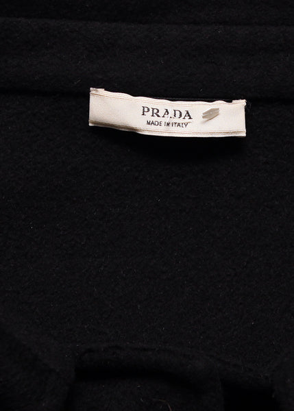 Logo on pre owned PRADA Black Wool Classic Coat