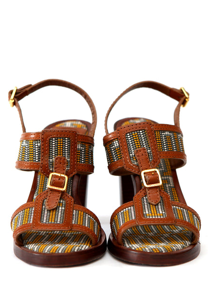 Brown Printed Sandals