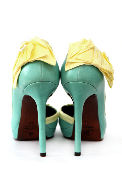 back view of Luxury LANVIN Green Emerald Heels