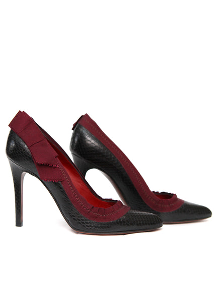 Luxury LANVIN Black Python Leather Pumps