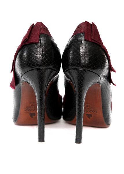back view of Luxury LANVIN Black Python Leather Pumps
