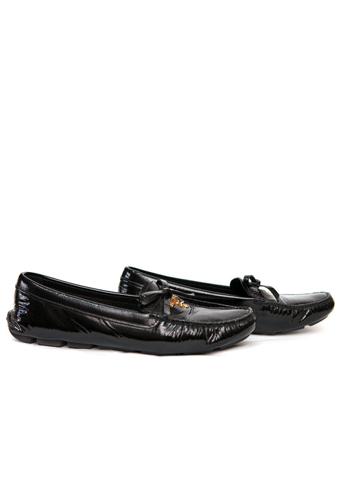 Right view of pre owned PRADA Black Patent Leather Moccasins