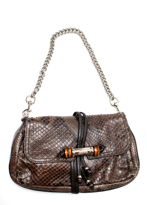 Pre owned GUCCI Brown Python Leather Shoulder Bag