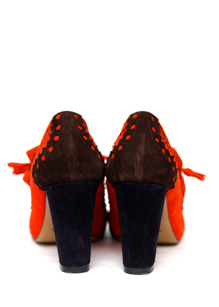 back view of Two Colored Suede Heels created by Azerbaijani designer HERMES