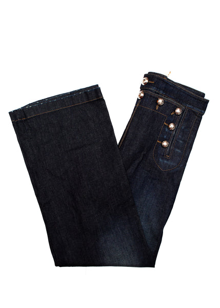 Pre owned GUCCI Dark Blue Wide Leg Jeans - curved