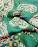 Silk Kelagayi with green Buta Prints