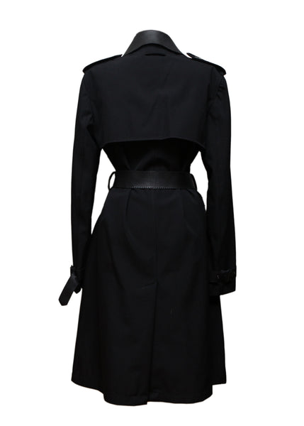 back view of Pre owned JEAN PAUL GAULTIER Black Wool Trench