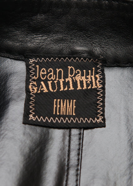 logo on Pre owned JEAN PAUL GAULTIER Black Wool Trench