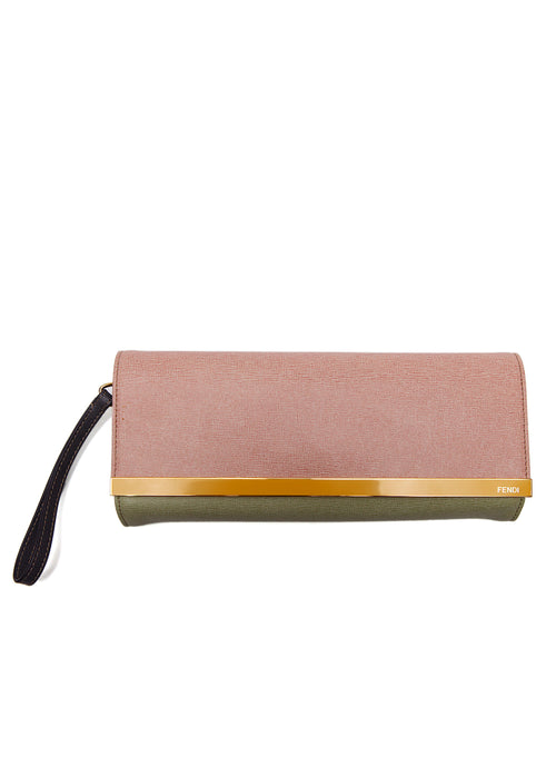 Luxury FENDI Saffiano Leather Clutch