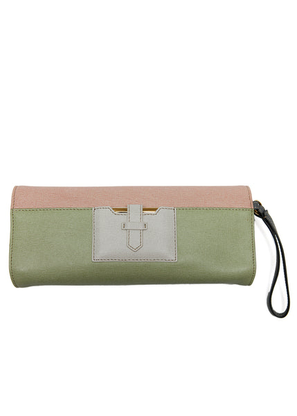 Back view of Luxury FENDI Saffiano Leather Clutch