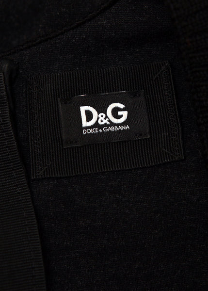 logo on Luxury DOLCE & GABBANA Black&Grey Dress
