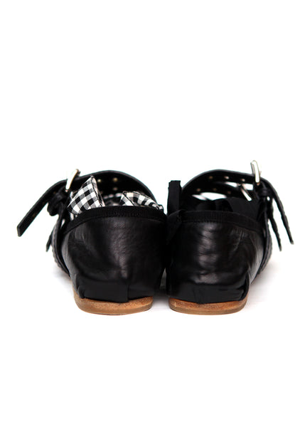 Back view of pre owned MIU-MIU Black Leather Ballet