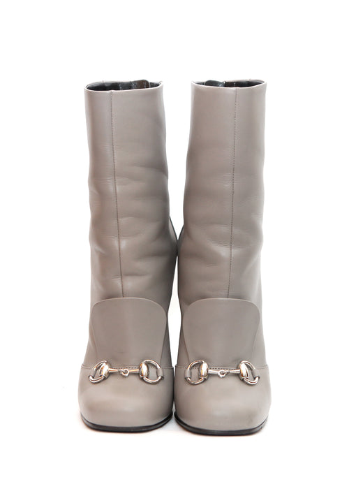 Front  view of pre owned GUCCI Grey Mid-Calf Boots