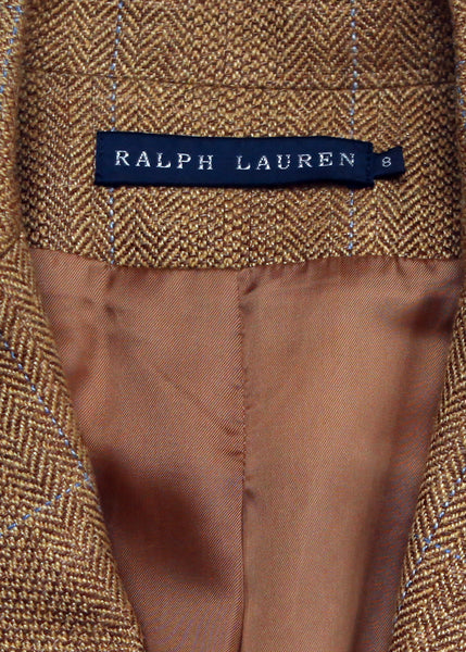 logo Luxury RALPH LAUREN Brown Jacket with Pockets