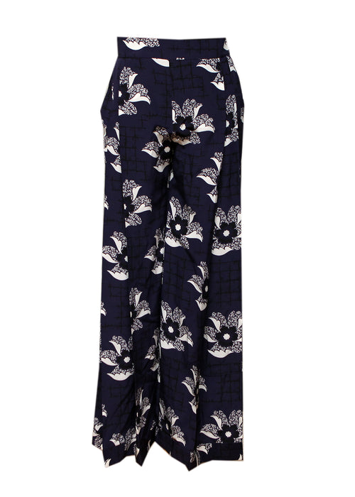 front view of Luxury VICTORIA BECKHAM Silk Blue Trousers