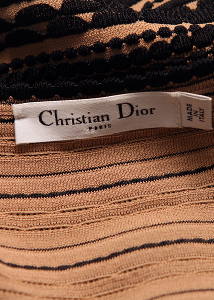 logo on Luxury CHRISTIAN DIOR Black & Brown Dress