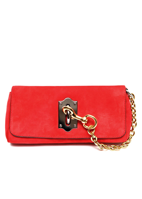 Luxury DOLCE & GABBANA Red Suede Clutch