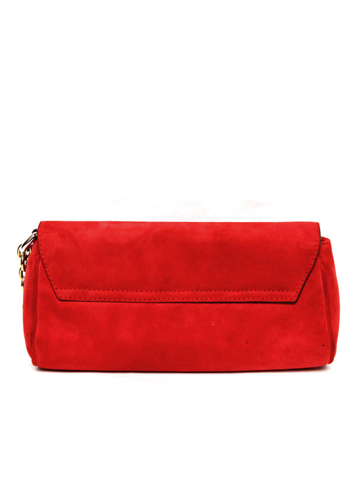Back view of Luxury DOLCE & GABBANA Red Suede Clutch