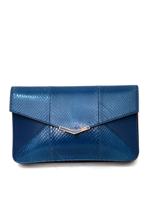 Luxury FENDI Blue Leather Clutch