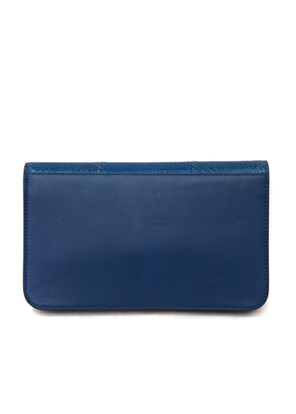 Back view of Luxury FENDI Blue Leather Clutch