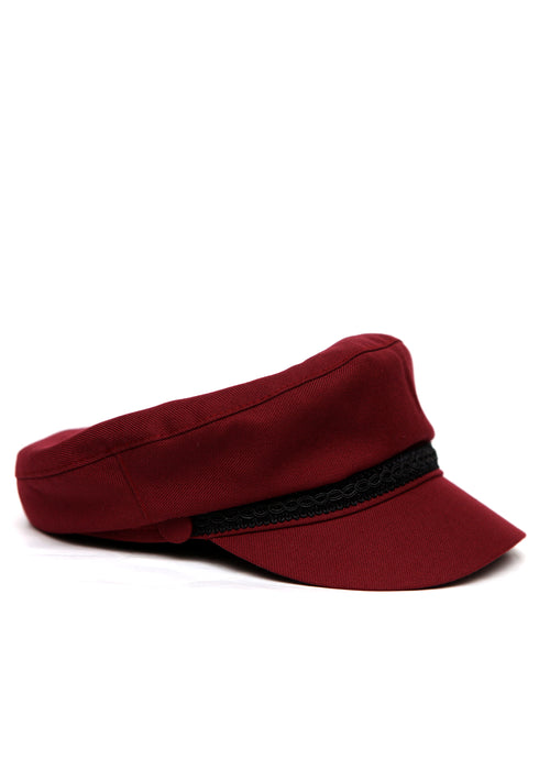 red and Bordeaux colors on Handmade Cap by Azerbaijani fashion designer