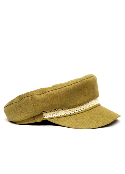 right view of Beige Handmade Cap created by Azerbaijan fashion designer