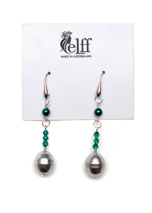 Silver toned earrings with faux Grey pearls