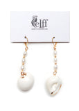 Pendant earrings with faux pearls and white shell