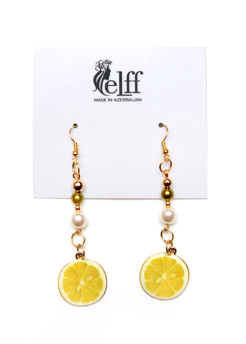 Pendant earrings with faux pearls and lemons