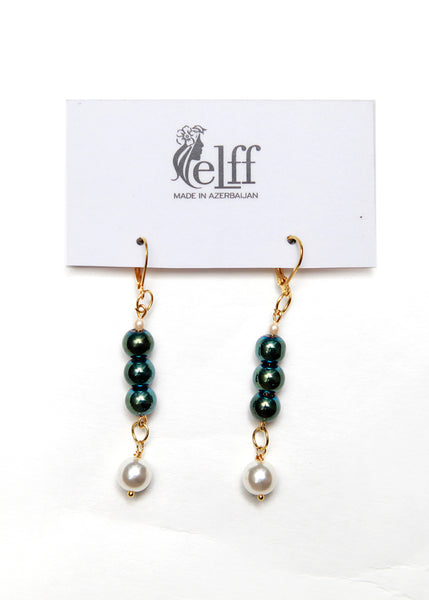 Pendant earrings with tiny faux pearls