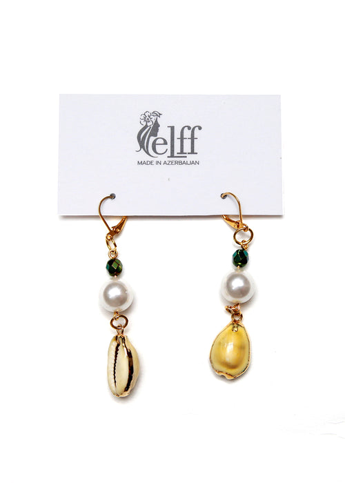 Gold plated earrings with yellow shell