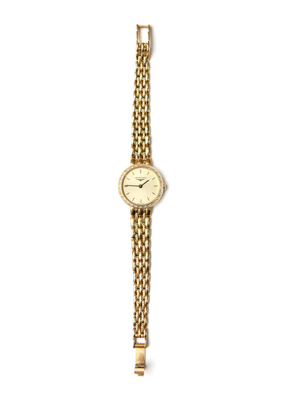 full view of Luxury Longines Longines gold vintage watches with diamonds