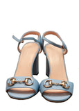 Gucci navy blue leather sandals front
