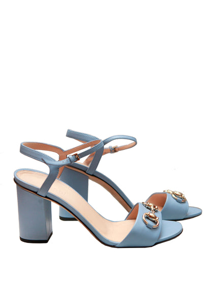 Gucci navy blue leather sandals