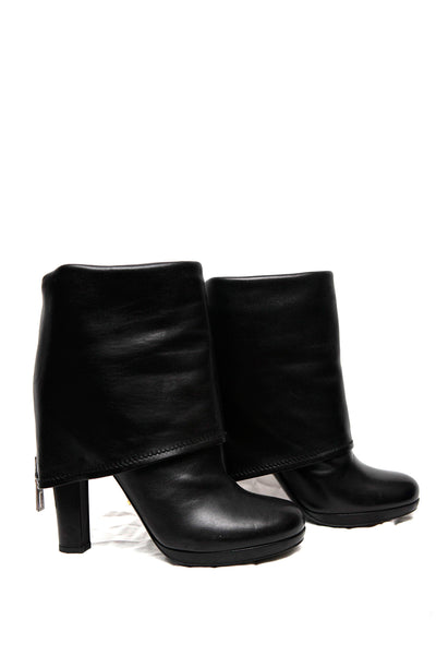 side view of leather boots from Prada