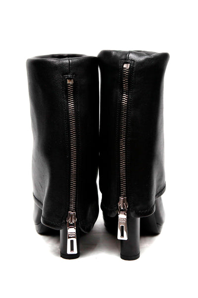back view of leather boots from Prada