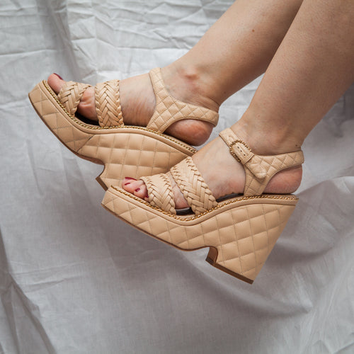 Beige Quilted Wedges