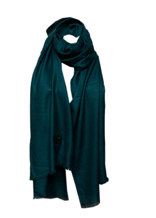 Sevil Art dark turquoise silk an cashmere scarf