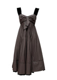 Front view of grey  sleeveless sheath dress by 6267 brand