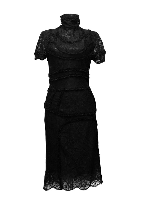 The front view of Chloe black lace midi dress with turtleneck
