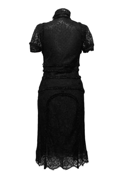 The black view of Chloe black lace midi dress with turtleneck