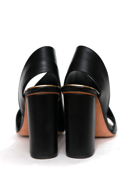 Back view of CELINE black leather strap sandals