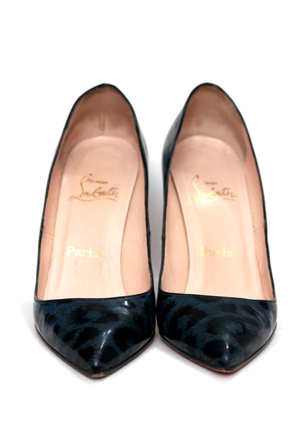 Front view of Pigalle Blue  Leopard Patent Leather Pumps