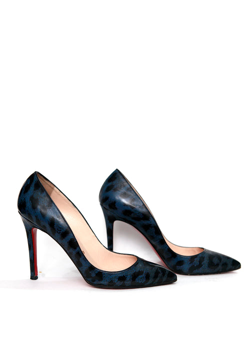 Right view of Pigalle Blue  Leopard Patent Leather Pumps